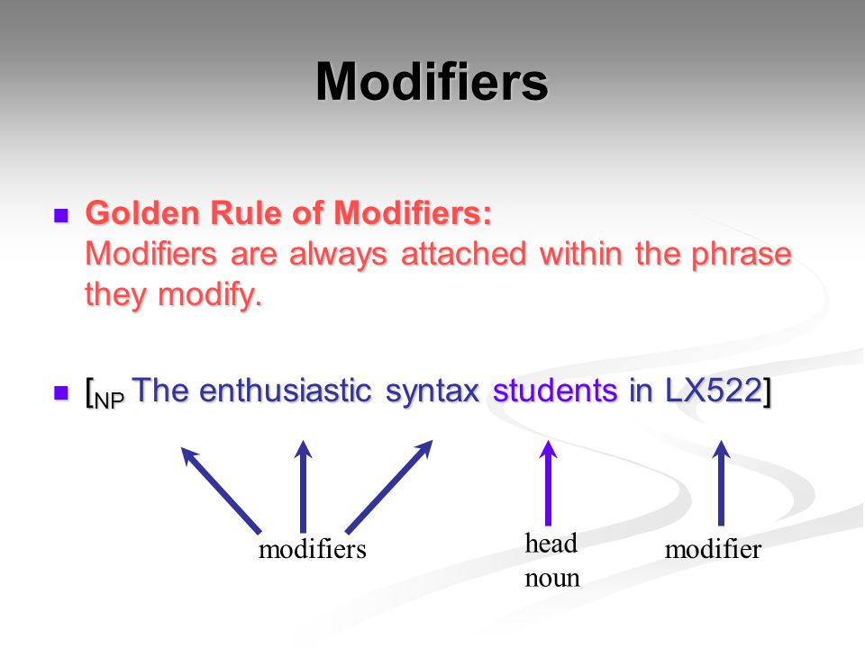 Modifiers Golden Rule of Modifiers: Modifiers are always attached within the phrase they modify. [NP The enthusiastic syntax students in LX522]